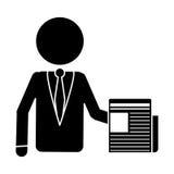 Офис работы документа бизнесмена силуэта Стоковые Фотографии RF