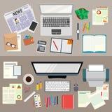 офис Реалистическая организация рабочего места взгляд сверху Исследование аналитика деловой активности стратегия бизнеса иллюстрация вектора