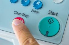 Офис, факс, машина экземпляра, конец кнопки старта вверх Стоковое Фото
