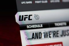 Официальная домашняя страница мира UFC стоковые фото