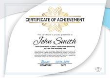 Официальный белый сертификат с серыми, голубыми элементами дизайна Дизайн дела чистый современный Стоковые Изображения RF