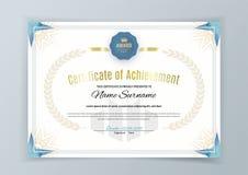 Официальный белый сертификат с элементами дизайна bluetriangle Дизайн дела чистый современный Стоковое Фото