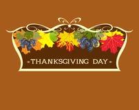 Официальный праздник в США в память первых колонистов Массачусетса Листья и виноградины осени в рамке иллюстрация вектора