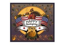 Официальный праздник в США в память первых колонистов Массачусетса Турция и американский флаг иллюстрация штока