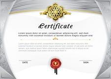 Официальный сертификат Серые граница и эмблема градиента, серый цвет и золото конструируют элементы на белой предпосылке Стоковое Фото