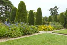 Официально английский сад с деревьями хвои, flowerbeds стоковое фото rf