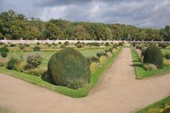 Официально сад на замке Chenonceau Стоковая Фотография