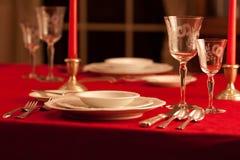 Официально сервировка стола ресторана Стоковая Фотография