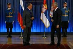 Официальный визит русского Министра Иностранных Дел Sergey Lavrov к Сербии Стоковое фото RF