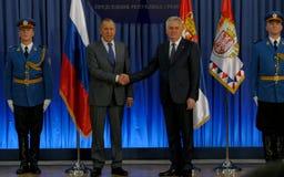 Официальный визит русского Министра Иностранных Дел Sergey Lavrov к Сербии Стоковое Фото