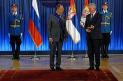 Официальный визит русского Министра Иностранных Дел Sergey Lavrov к Сербии Стоковые Изображения