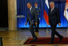 Официальный визит русского Министра Иностранных Дел Sergey Lavrov к Сербии Стоковое Изображение