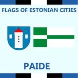Официальный оплаченный флаг эстонского города Стоковые Фотографии RF
