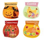 Официальный праздник в США в память первых колонистов Массачусетса, пасха, хеллоуин, значки рождества плоские Стоковые Изображения