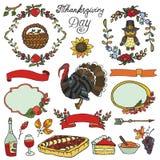 Официальный праздник в США в память первых колонистов Массачусетса собрание doodle Цветастый комплект бесплатная иллюстрация