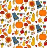 Официальный праздник в США в память первых колонистов Массачусетса doodles безшовная картина вектора Стоковые Изображения RF