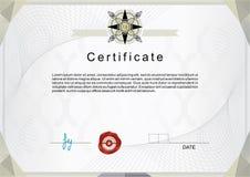Официальный сертификат с серебряной эмблемой стоковое фото rf