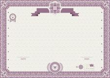 Официальный современный сертификат Розовая орнаментальная граница EPs 8 Стоковые Изображения RF