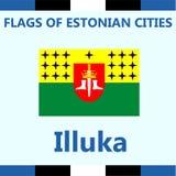 Официальный флаг эстонского города Illuka стоковое изображение rf