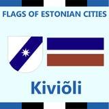 Официальный флаг эстонского города Kivioli Стоковые Фото