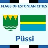 Официальный флаг эстонского города Pussi Стоковое фото RF