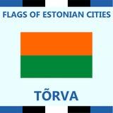 Официальный флаг эстонского города Torva Стоковые Фотографии RF