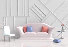 Оформление белой комнаты с софой желт-сливк 3d представляют Стоковая Фотография RF