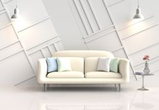 Оформление белой комнаты с софой желт-сливк 3d представляют Стоковые Фотографии RF