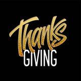 Оформление благодарения для поздравительных открыток и плаката Золотая литерность каллиграфии также вектор иллюстрации притяжки c Иллюстрация штока