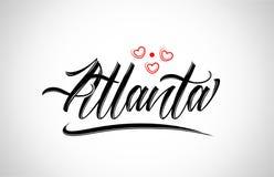 оформление дизайна города atlanta с красным логотипом значка сердца иллюстрация вектора