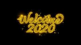 Оформление 2020 добро пожаловать написанное с золотыми частицами искрится фейерверки иллюстрация вектора
