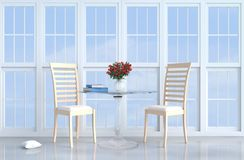 Оформление живущей комнаты просторной квартиры сер-белое с софой Стоковые Изображения RF