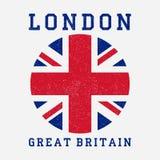 Оформление Лондона с флагом Великобритании Печать Grunge для дизайна одевает, футболка, одеяние вектор Стоковое Изображение