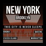 Оформление Нью-Йорка, Бруклина для печати футболки Силуэт города Графики футболки иллюстрация вектора