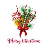 Оформление праздника Реалистические ветви дерева букета рождества и ягода падуба, конус, лента, анисовка звезды, циннамон, апельс бесплатная иллюстрация