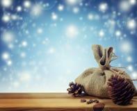 Оформление рождества в простом сельском стиле зима вьюги носит вектор santa ночи иллюстрации подарков claus рождества Стоковые Изображения