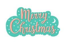 Оформление рождества, почерк помечая буквами дизайн поздравительной открытки иллюстрация вектора