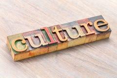 Оформление слова культуры в деревянном типе Стоковое Изображение