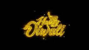 Оформление diwali Shubh счастливое написанное с золотыми частицами искрится фейерверки