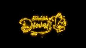 Оформление Shubh счастливое Diwali написанное с золотыми фейерверками искр частиц