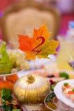 Оформление в форме тыквы и кленового листа Стоковая Фотография RF