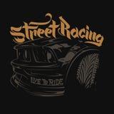 Оформление гоночного автомобиля, графики футболки, помечая буквами Иллюстрация штока