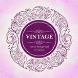 Оформление года сбора винограда вектора Цветочный узор в круге Пробел для украшать приглашения, поздравительные открытки, карточк Стоковое Изображение