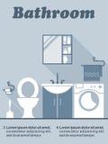 Оформление интерьера ванной комнаты плоское infographic Стоковые Изображения RF