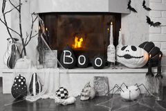Оформление камина Идеи на хеллоуин Стоковое Фото