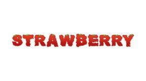Оформление клубники Письма зрелых красных ягод краснеть позволил Стоковое Фото