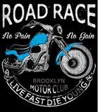 Оформление мотоцикла, винтажный мотор, графики футболки, векторы иллюстрация вектора