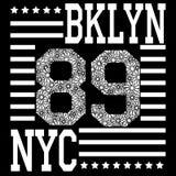 Оформление Нью-Йорка Бруклина, футболка иллюстрация вектора