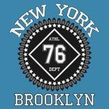 Оформление Нью-Йорка Бруклина, футболка иллюстрация штока