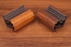 Оформление одиночного угла PVC деревянное на древесине Стоковые Изображения RF